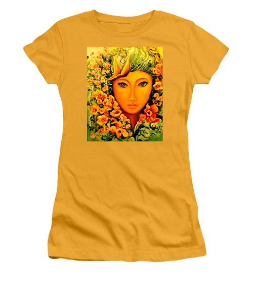Women's T-Shirt (Junior Cut) featuring the painting Lady Sring by Yolanda Rodriguez