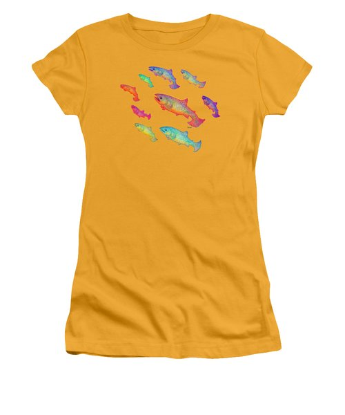 Leaping Salmon Design Women's T-Shirt (Junior Cut) by Teresa Ascone
