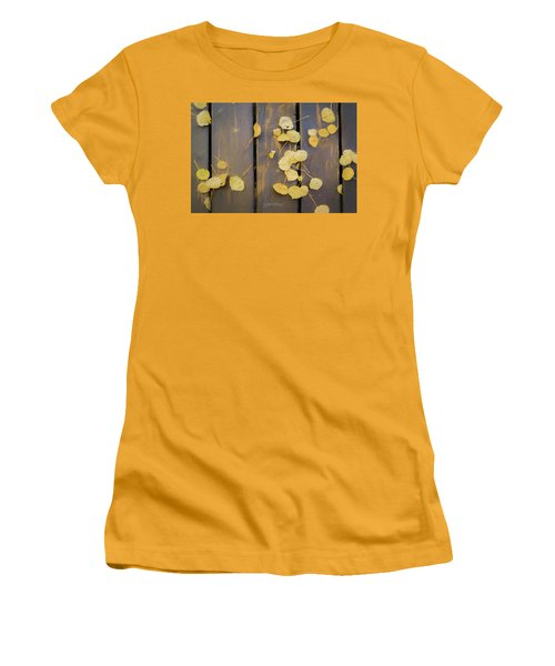 Leaves On Planks Women's T-Shirt (Athletic Fit)