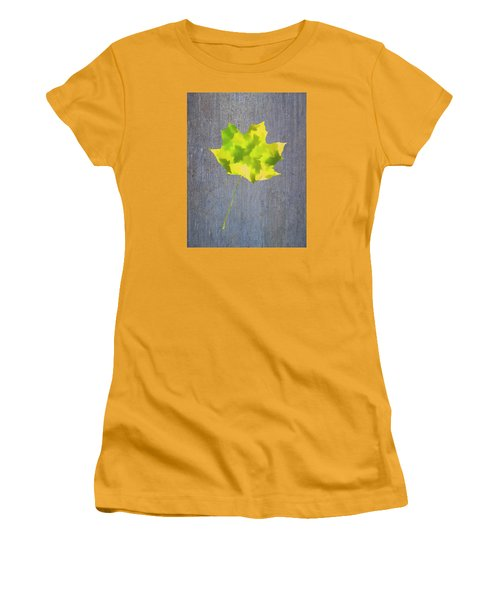 Women's T-Shirt (Junior Cut) featuring the photograph Leaves Through Maple Leaf On Texture 2 by Gary Slawsky