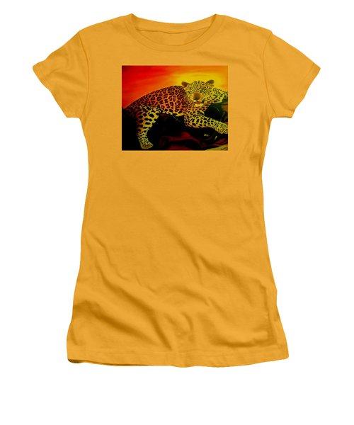 Leopard On A Tree Women's T-Shirt (Junior Cut) by Manuel Sanchez