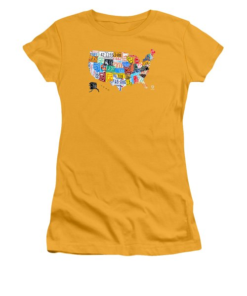 License Plate Art Map Of The United States On Yellow Board Women's T-Shirt (Junior Cut) by Design Turnpike