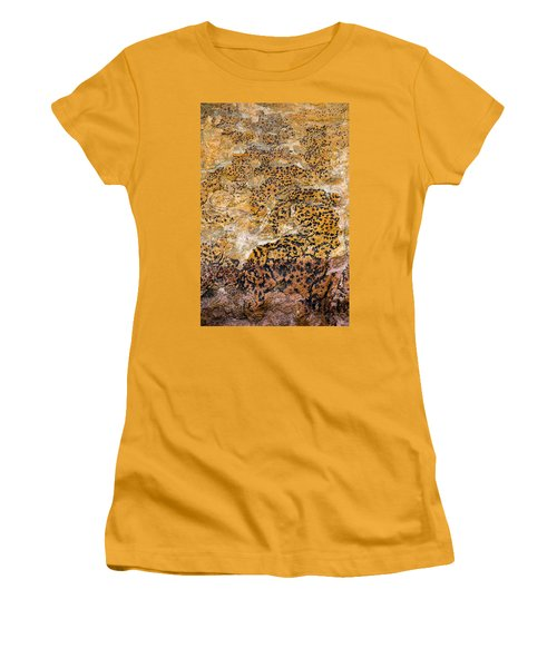 Women's T-Shirt (Athletic Fit) featuring the photograph Lichen Abstract, Bhimbetka, 2016 by Hitendra SINKAR