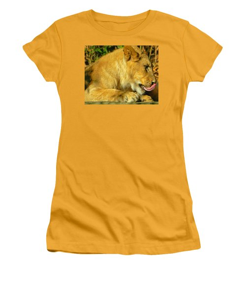 Lion Cub - What A Yummy Snack Women's T-Shirt (Junior Cut) by Emmy Marie Vickers