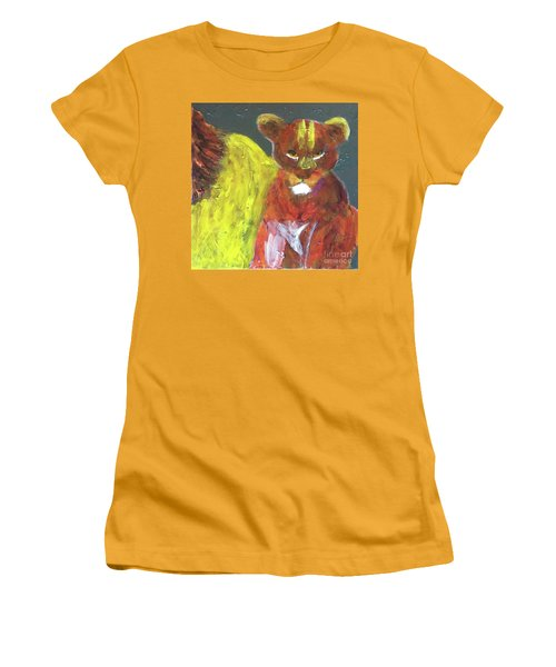 Women's T-Shirt (Athletic Fit) featuring the painting Lion Family Part 6 by Donald J Ryker III