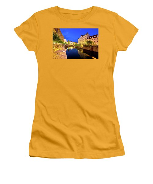 Ljubljanica River Waterfront In Ljubljana Evening View Women's T-Shirt (Athletic Fit)