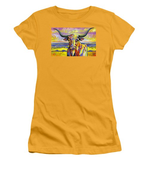 Long Horn At Sunset Women's T-Shirt (Athletic Fit)