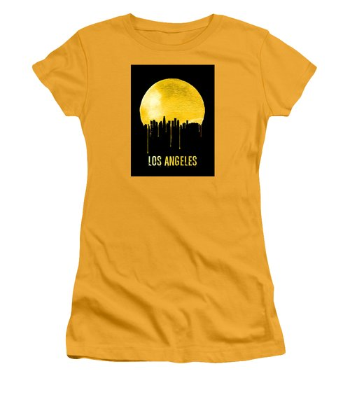 Los Angeles Skyline Yellow Women's T-Shirt (Athletic Fit)