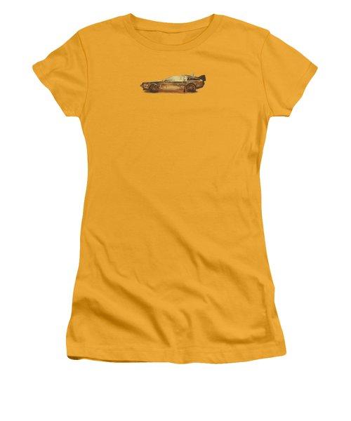 Lost In The Wild Wild West Golden Delorean Doubleexposure Art Women's T-Shirt (Athletic Fit)