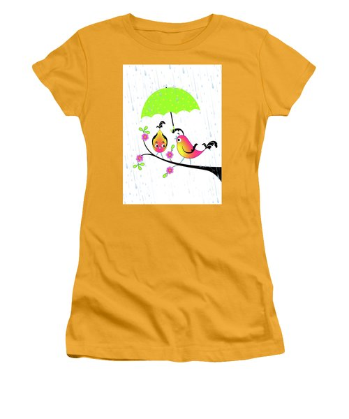 Love Birds In Rain Women's T-Shirt (Athletic Fit)