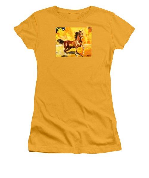 Lone Mustang Women's T-Shirt (Junior Cut) by Al Brown