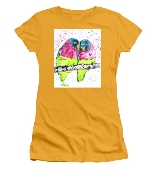Women's T-Shirt (Junior Cut) featuring the painting Lovebirds by D Renee Wilson