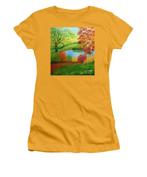 Women's T-Shirt (Athletic Fit) featuring the painting Luminous Colors Of Fall by Lee Nixon