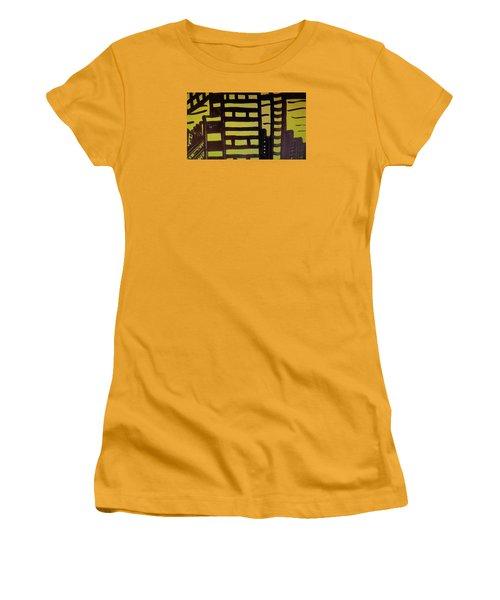 Women's T-Shirt (Junior Cut) featuring the painting Manhattan Sunrise 2 by Don Koester