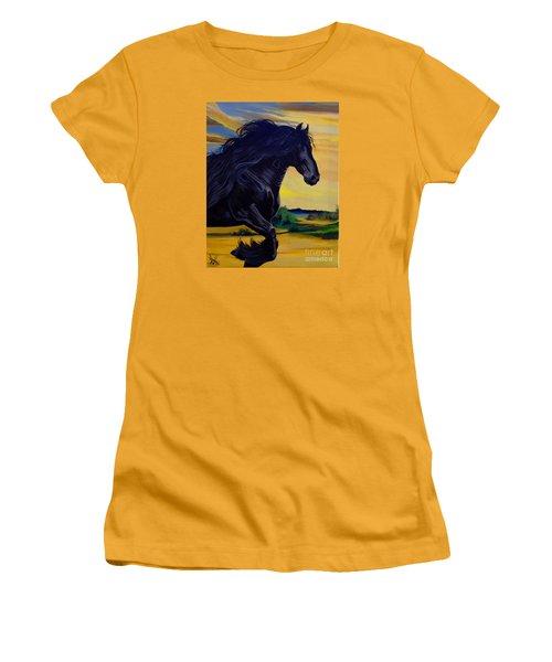 Friesian Paradise Women's T-Shirt (Junior Cut) by Cheryl Poland