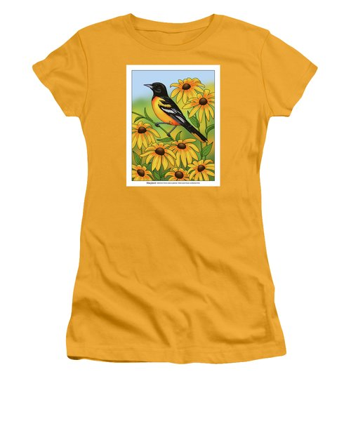 Maryland State Bird Oriole And Daisy Flower Women's T-Shirt (Junior Cut) by Crista Forest