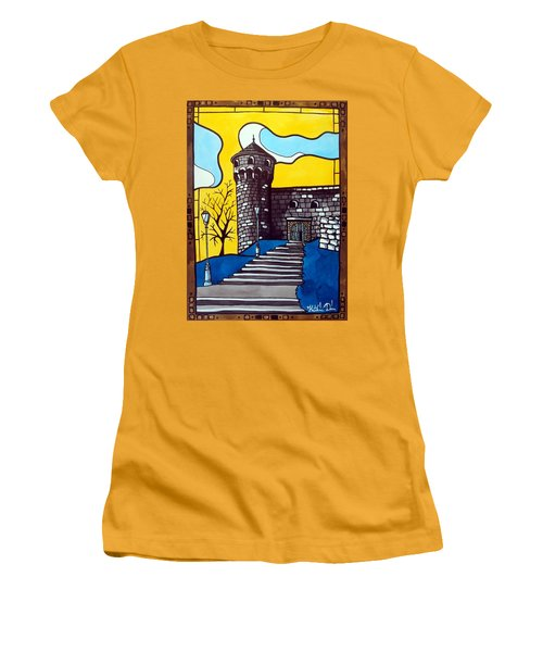 Women's T-Shirt (Junior Cut) featuring the painting Medieval Bastion -  Mace Tower Of Buda Castle Hungary By Dora Hathazi Mendes by Dora Hathazi Mendes