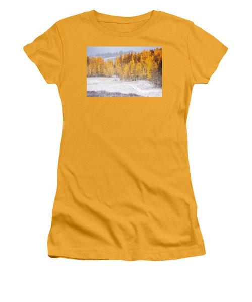 Merging Seasons Women's T-Shirt (Junior Cut) by Kristal Kraft