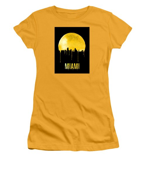 Miami Skyline Yellow Women's T-Shirt (Athletic Fit)