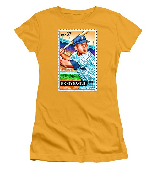 Mickey Mantle Women's T-Shirt (Junior Cut) by Lanjee Chee