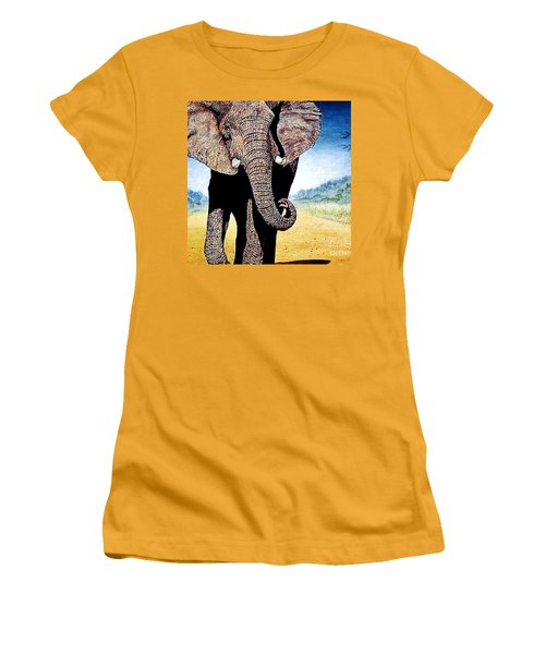 Women's T-Shirt (Junior Cut) featuring the painting Mighty Elephant by Hartmut Jager