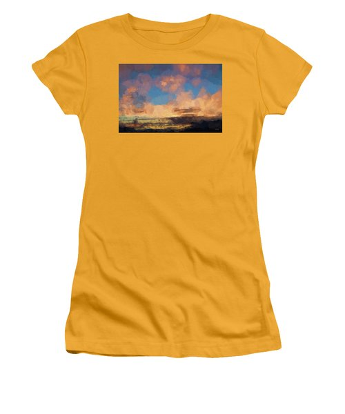 Moab Sunrise Abstract Painterly Women's T-Shirt (Athletic Fit)