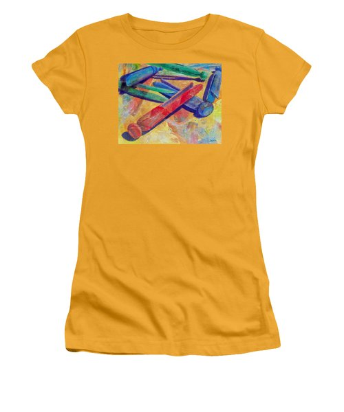 Women's T-Shirt (Junior Cut) featuring the painting Mom's Wash Day by Susan DeLain