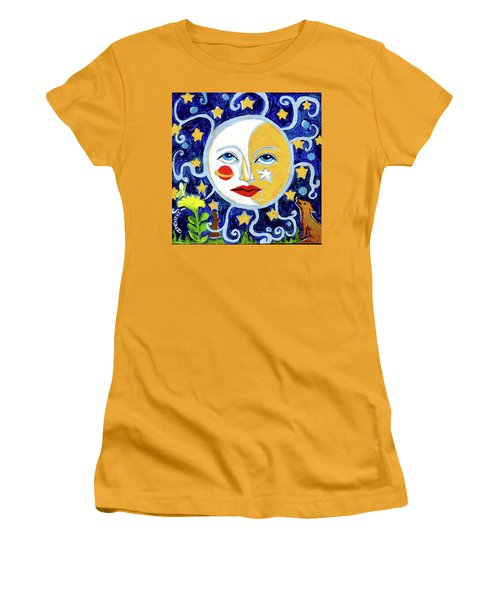 Women's T-Shirt (Junior Cut) featuring the painting Moonface With Wolf And Stars by Genevieve Esson