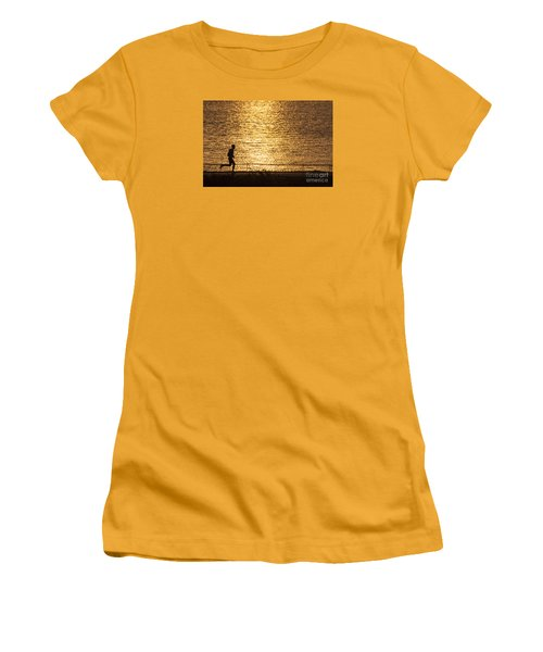 Women's T-Shirt (Junior Cut) featuring the photograph Morning Jog by Inge Riis McDonald