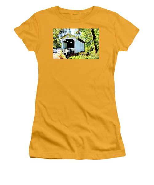 Mosbey Creek Stewart Covered Bridge Women's T-Shirt (Junior Cut) by Ansel Price