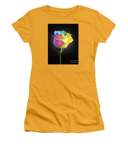 Rainbow Rose 1 Women's T-Shirt (Junior Cut) by Tony Cordoza