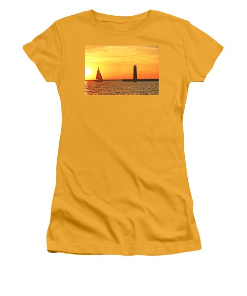 Muskegon Sunset Women's T-Shirt (Junior Cut) by Michael Peychich