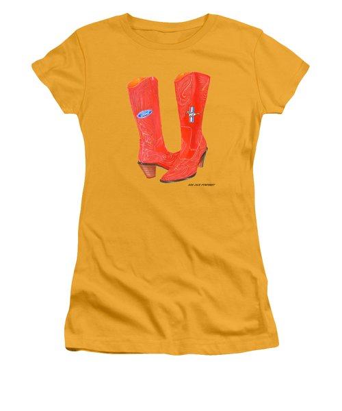 Mustang Sally Kick Ass Boots Women's T-Shirt (Junior Cut) by Jack Pumphrey