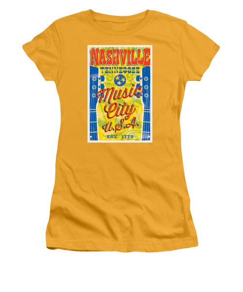 Nashville Tennessee Poster Women's T-Shirt (Athletic Fit)