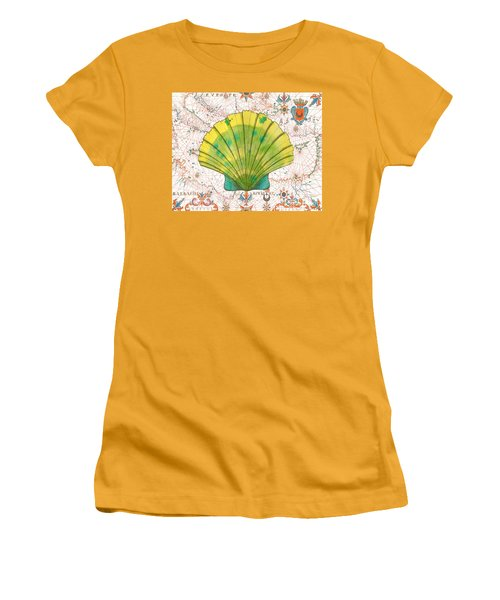 Women's T-Shirt (Junior Cut) featuring the painting Nautical Treasures-d by Jean Plout