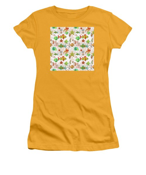Women's T-Shirt (Junior Cut) featuring the painting Nautical Treasures-r by Jean Plout