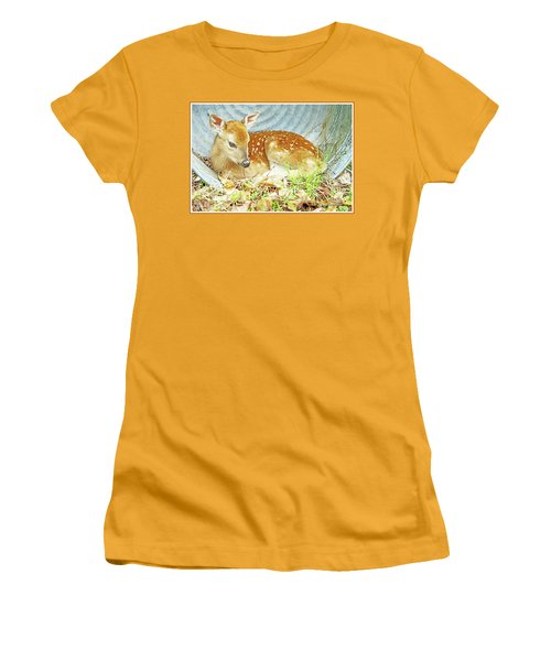 Newborn Fawn Takes Shelter In An Old Washtub II Women's T-Shirt (Athletic Fit)