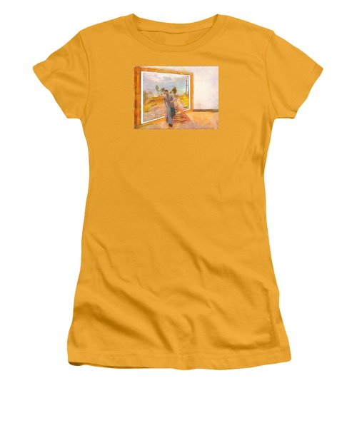Women's T-Shirt (Junior Cut) featuring the painting Night At The Art Gallery - Railway To Freedom by Wayne Pascall