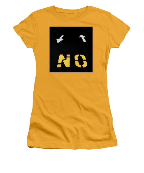 Women's T-Shirt (Athletic Fit) featuring the photograph No Sense Of Direction Traffic Lines by Gary Slawsky