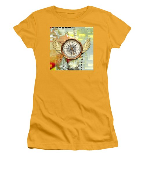 Women's T-Shirt (Athletic Fit) featuring the mixed media North, South, East And West by Marvin Blaine