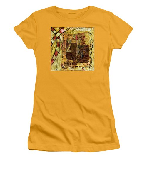 Women's T-Shirt (Athletic Fit) featuring the mixed media Number 2 Encaustic Collage by Bellesouth Studio