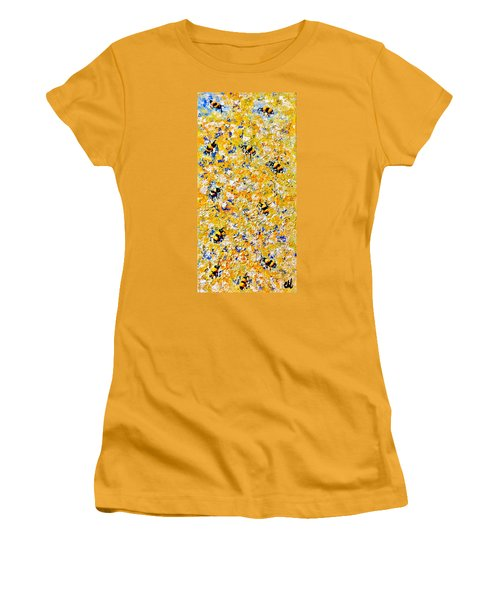 Women's T-Shirt (Junior Cut) featuring the painting Ode To Bees.. by Cristina Mihailescu