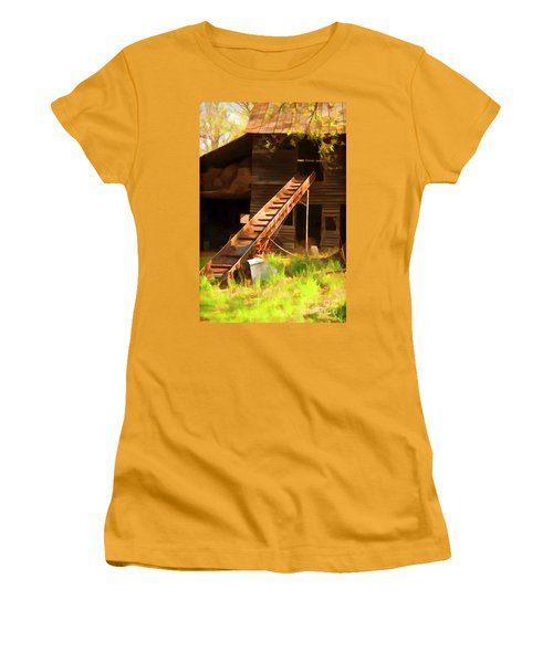 Women's T-Shirt (Junior Cut) featuring the photograph Old North Carolina Barn And Rusty Equipment   by Wilma Birdwell