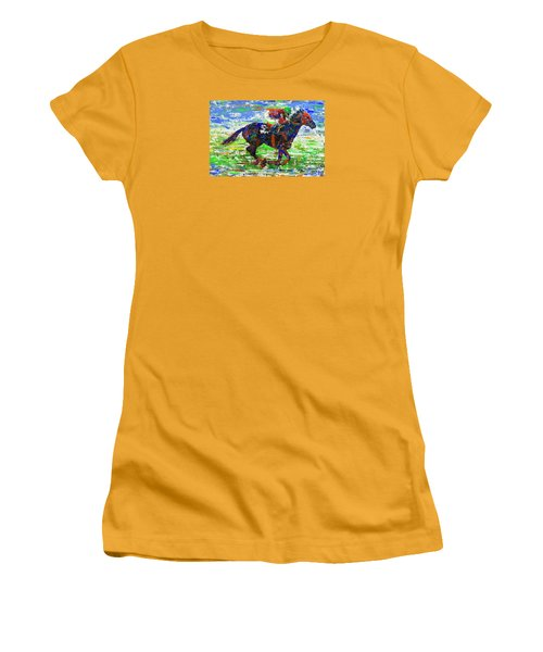 Women's T-Shirt (Junior Cut) featuring the painting One Body Length Ahead by Walter Fahmy