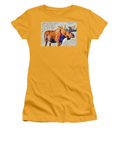 One Handsome Moose Women's T-Shirt (Athletic Fit)