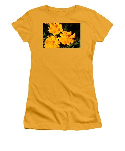 Women's T-Shirt (Junior Cut) featuring the photograph Cosmos Trio by Sheila Brown