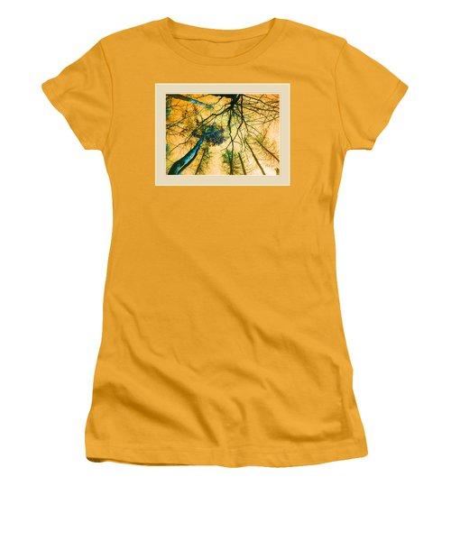 Women's T-Shirt (Junior Cut) featuring the photograph Orange Sky Tree Tops by Felipe Adan Lerma