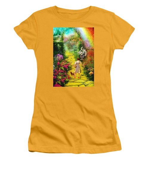 Women's T-Shirt (Junior Cut) featuring the painting Over The Rainbow by Mo T
