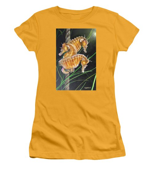 Pacific Lined Seahorse Trio Women's T-Shirt (Junior Cut) by Phyllis Beiser