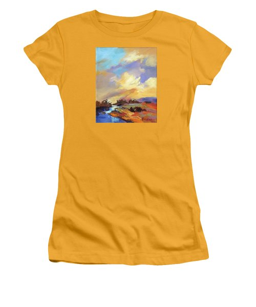 Women's T-Shirt (Junior Cut) featuring the painting Painted Sky by Rae Andrews